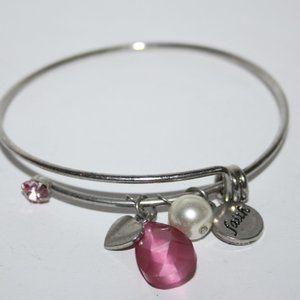 Pink Faith bangle charm bracelet